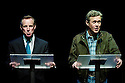 Stuff Happens by David Hare ,directed by Nicholas Hytner. With Alex Jennings as George W Bush and Nicholas Farrell as Tony Blair. Opens at the Olivier Theatre on 10/9/04. CREDIT Geraint Lewis