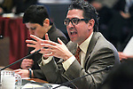 Jeremy Aguero answers lawmaker questions about Gov. Brian Sandoval's business license fee plan during a hearing at the Legislative Building in Carson City, Nev., on Wednesday, March 18, 2015. <br /> Photo by Cathleen Allison