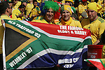 "11 JUN 2010: Fans in the stands of the Soccer City Stadium holding a South African flag saying ""The Famous Sloot & Harry"", pregame. The South Africa National Team played the Mexico National Team at Soccer City Stadium in Johannesburg, South Africa in the opening match of the 2010 FIFA World Cup."