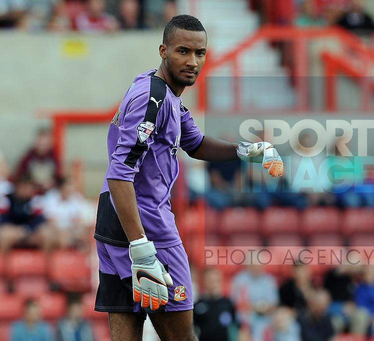 Swindon Town goalkeeper Lawrence Vigouroux<br /> - English League One - Swindon Town vs Sheffield Utd - County Ground Stadium - Swindon - England - 29th August 2015