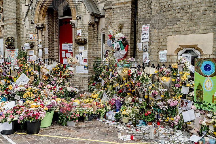 An informal memorial to the victims of the Grenfell Tower fire at Notting Hill Methodist Church.