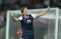 London, England - Thursday, August 9, 2012: The USA defeated Japan 2-1 to win the London 2012 Olympic gold medal at Wembley Arena. Abby Wambach celebrates Carli Lloyd's second goal. .