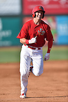 Johnson City Cardinals designated hitter Andrew Knizner (48) runs to third during a game against the Elizabethton Twins at Howard Johnson Field at Cardinal Park on June 26, 2016 in Johnson City, Tennessee. The Twins defeated the Cardinals 13-12. (Tony Farlow/Four Seam Images)