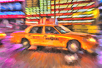Motion blurred abstraction of taxi rushing through Times Square. The image was creatively modified to resemble a painting.