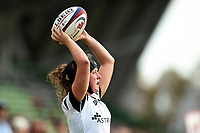 Clara Nielson of Bristol Bears Women looks to throw into a lineout. Tyrrell's Premier 15s match, between Harlequins Ladies and Bristol Bears Women on September 15, 2018 at the Twickenham Stoop in London, England. Photo by: Patrick Khachfe / Onside Images