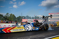 May 3, 2019; Commerce, GA, USA; NHRA top fuel driver Antron Brown during qualifying for the Southern Nationals at Atlanta Dragway. Mandatory Credit: Mark J. Rebilas-USA TODAY Sports