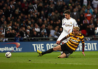 Pictured: (L-R) Pablo Hernandez and Andrew Davies. Sunday 24 February 2013<br /> Re: Capital One Cup football final, Swansea v Bradford at the Wembley Stadium in London.