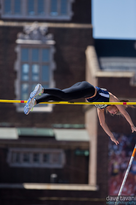 Amanda Benninghoff of Council Rock South clears the bar in the High School Girls Pole Vault Championship of America. Benninghoff place third with a vault of 3.70m.