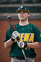 Siena Saints designated hitter Brian Kelly (14) before a game against the Stetson Hatters on February 23, 2016 at Melching Field at Conrad Park in DeLand, Florida.  Stetson defeated Siena 5-3.  (Mike Janes/Four Seam Images)