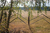 Fence dividing farmer's fields with the national forest in the background in Poland.  Zawady  Central Poland