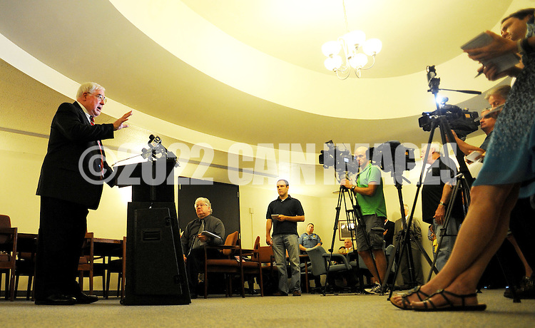 DOYLESTOWN, PA - JUNE 20: Bucks County District Attorney David Heckler speaks with the media during a news conference June 20, 2014 at the Bucks County Courthouse in Doylestown, Pennsylvania. (Photo by William Thomas Cain/Cain Images)
