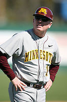February 21, 2009:  Coach Rob Fornasiere of the University of Minnesota during the Big East-Big Ten Challenge at Jack Russell Stadium in Clearwater, FL.  Photo by:  Mike Janes/Four Seam Images