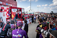 podium ceremony at 2000m alt. for stage winner Ángel Madrazo (ESP/Burgos-BH)<br /> <br /> Stage 5: L'Eliana to Observatorio Astrofísico de Javalambre (171km)<br /> La Vuelta 2019<br /> <br /> ©kramon