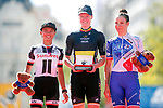 The podium 1st Jolien D'hoore (BEL) Wiggle High5, 2nd place Coryn Rivera (USA) Team Sunweb and 3rd place Roxane Fournier (FRA) FDJ Nouvelle Aquitaine-Futuroscope at the end of the Madrid Challenge by La Vuelta 2017, ridden over 87km 15 laps on a 5.8km route around the iconic Plaza Cibeles, Madrid, Spain. 10th September 2017.<br /> Picture: Unipublic/&copy;photogomezsport | Cyclefile<br /> <br /> <br /> All photos usage must carry mandatory copyright credit (&copy; Cyclefile | Unipublic/&copy;photogomezsport)