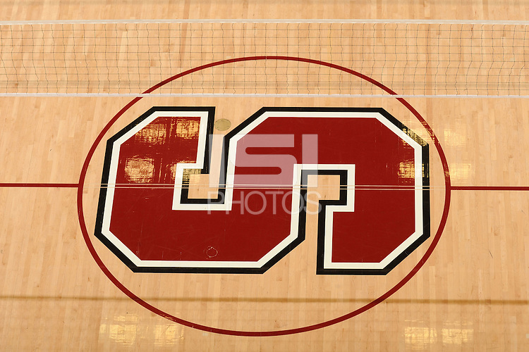 Stanford, CA - OCTOBER 31:  Logo and net of the Stanford Cardinal during Stanford's 25-22, 25-23, 25-18 win against the Washington Huskies on October 31, 2008 at Maples Pavilion in Stanford, California.