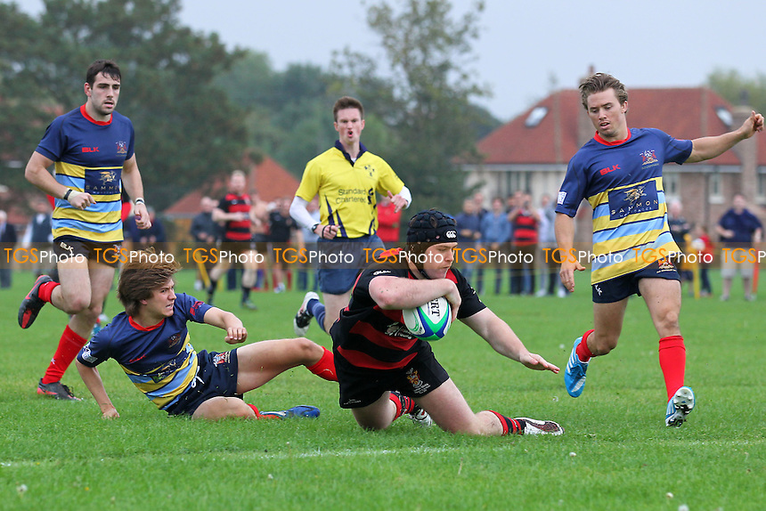 Campion go over for their third try - Old Cooperians RFC vs Campion RFC - London 2 North East Rugby at Coopers Company & Coborn School, Upminster - 20/09/14 - MANDATORY CREDIT: Gavin Ellis/TGSPHOTO - Self billing applies where appropriate - contact@tgsphoto.co.uk - NO UNPAID USE