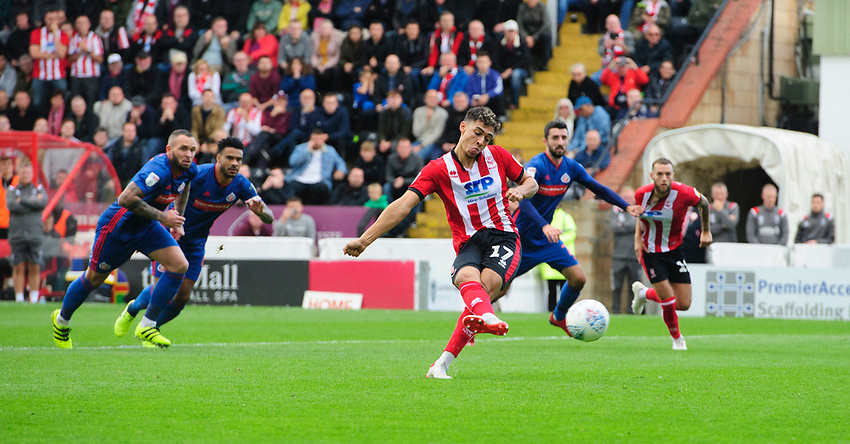 Lincoln City's Tyler Walker fails to convert a penalty in the second half<br /> <br /> Photographer Chris Vaughan/CameraSport<br /> <br /> The EFL Sky Bet League One - Lincoln City v Sunderland - Saturday 5th October 2019 - Sincil Bank - Lincoln<br /> <br /> World Copyright © 2019 CameraSport. All rights reserved. 43 Linden Ave. Countesthorpe. Leicester. England. LE8 5PG - Tel: +44 (0) 116 277 4147 - admin@camerasport.com - www.camerasport.com