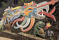 Detail of feathered serpent mural by Diego Rivera on the front wall of the Casa de Delores Olmedo in Acapulco, Mexico. Diego Rivera created this mural during the last two years of his life 1956 and 1957.