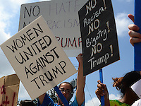 Ashburn, VA - August 2, 2016: Protesters against Donald Trump rally near the site of a campaign event hosted by the republican presidential candidate and businessman in Ashburn, VA, August 2, 2016.  (Photo by Don Baxter/Media Images International)