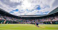 London, England, 10 th. July, 2018, Tennis,  Wimbledon, Womans single quarter final: Kiki Bertens (NED) (L) in her match against Julia Goerges (GER)<br /> Photo: Henk Koster/tennisimages.com