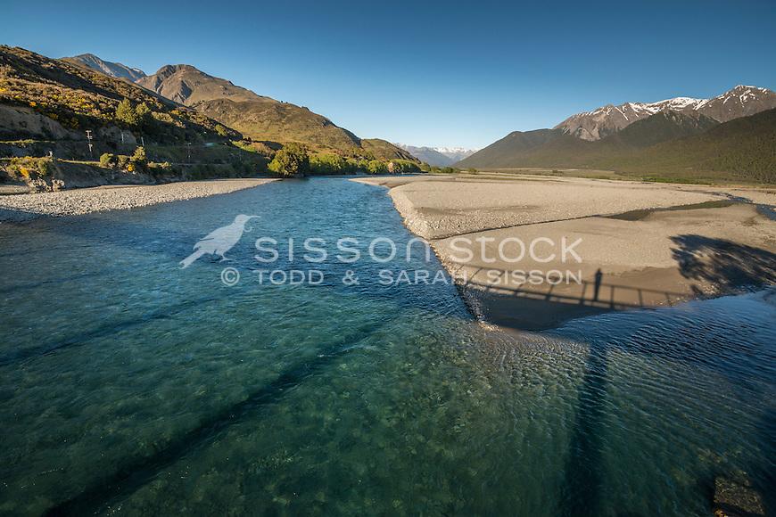 Shadow of Mt White Bridge across the Waimakariri River, Canterbury, South Island, New Zealand - stock photo, canvas, fine art print