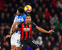 Christopher Schindler of Huddersfield Town wins a header from Callum Wilson of AFC Bournemouth during AFC Bournemouth vs Huddersfield Town, Premier League Football at the Vitality Stadium on 4th December 2018