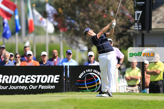 Webb Simpson (USA) tees off the 17th tee during Thursday's Round 1 of the 2013 Bridgestone Invitational WGC tournament held at the Firestone Country Club, Akron, Ohio. 1st August 2013.<br /> Picture: Eoin Clarke www.golffile.ie