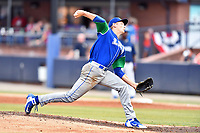 Lexington Legends starting pitcher Zach Haake (33) delivers a pitch during a game against the Asheville Tourists at McCormick Field on July 3, 2019 in Asheville, North Carolina. The Tourists defeated the Legends 10-6. (Tony Farlow/Four Seam Images)