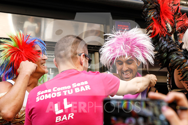 Third classified (l) and winner of the heels race of the lgtb pride party of Madrid. July 4, 2019. (ALTERPHOTOS/JOHANA HERNANDEZ)