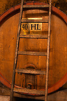 Big wooden vat to store wine, 40 hl hectolitres Joseph Thoret. Ladder leaning against the barrel. Chateau Romanin, Saint Remy de Provence, Bouches du Rhone, Provence, France, Europe
