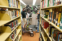 "Production of Spike Jonze's short film ""I'm Here"" filming in the library on the campus of Occidental College, Los Angeles, California, Aug. 17, 2009. (Photo by Marc Campos, College Photographer, Copyright Occidental College)"