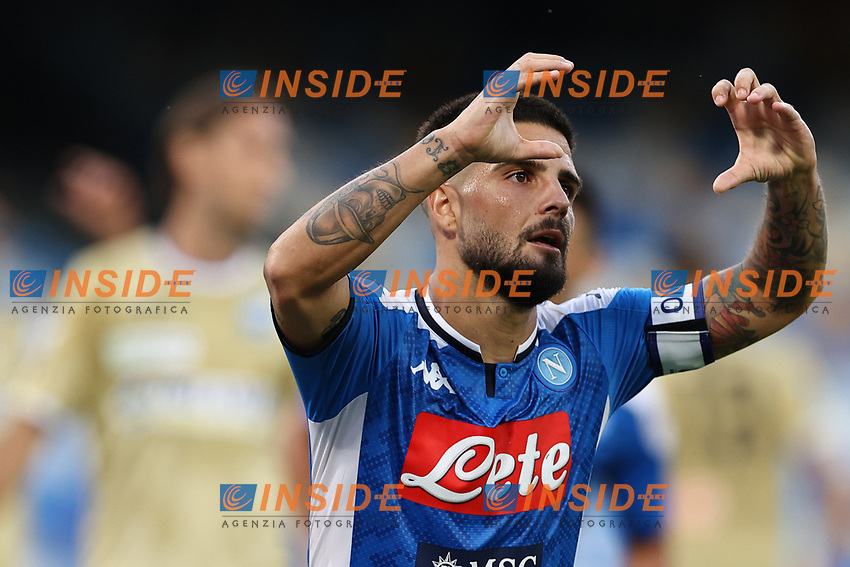 Lorenzo Insigne of Napoli celebrates after scoring a goal annulled<br /> during the Serie A football match between SSC  Napoli and SPAL at stadio San Paolo in Naples ( Italy ), June 28th, 2020. Play resumes behind closed doors following the outbreak of the coronavirus disease. <br /> Photo Cesare Purini / Insidefoto