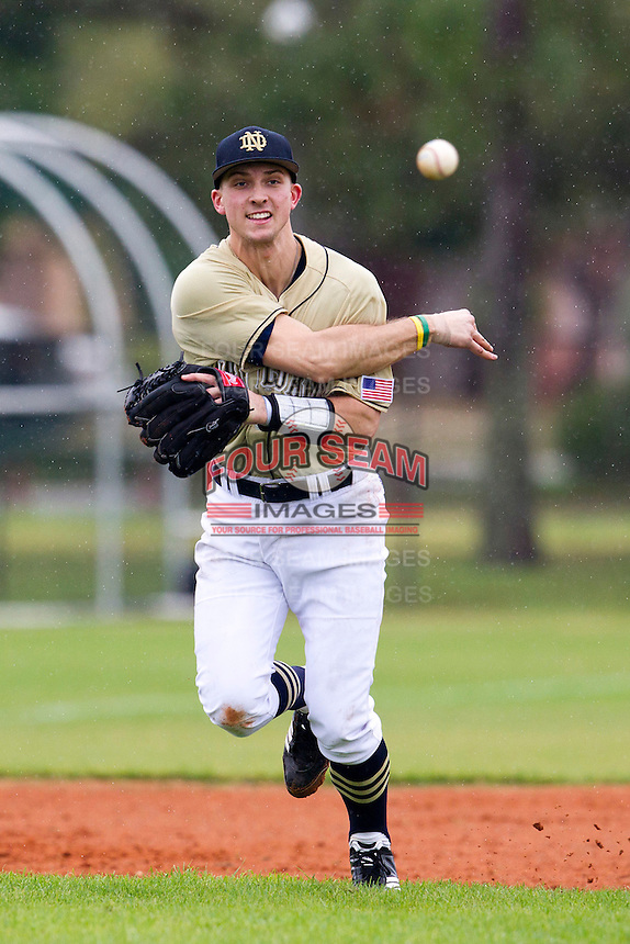 Notre Dame Fighting Irish third baseman Phil Mosey #33 throws to first during a game against the Illinois Fighting Illini at the Big Ten/Big East Challenge at Walter Fuller Complex on February 17, 2012 in St. Petersburg, Florida.  (Mike Janes/Four Seam Images)