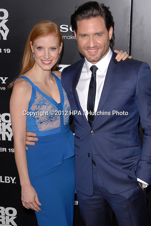 LOS ANGELES - DEC 10:  Jessica Chastain, Edgar Ramirez arrives to the 'Zero Dark Thirty' premiere at Dolby Theater on December 10, 2012 in Los Angeles, CA
