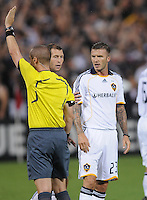 Los Angeles Galaxy midfielder David Beckham argues with referee Mark Geiger after a foul.  DC United tied with Los Angeles Galaxy 0-0 at RFK Stadium, Saturday August 22, 2009.