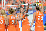 The Hague, Netherlands, June 14: Maartje Paumen #17 of The Netherlands celebrates the win of the World Cup Trophy after the field hockey gold medal match (Women) between Australia and The Netherlands on June 14, 2014 during the World Cup 2014 at Kyocera Stadium in The Hague, Netherlands. Final score 2-0 (2-0)  (Photo by Dirk Markgraf / www.265-images.com) *** Local caption ***