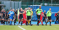 Referee, linesmen and the players walk onto the pitch during a female soccer game between FC Femina White Star Woluwe and Dames Zulte Waregem  on the first matchday of the 2020 - 2021 season of Belgian Women's SuperLeague , Friday 28 of August 2020  in Sint Lambrechts Woluwe , Belgium . PHOTO SPORTPIX.BE | SPP | SEVIL OKTEM