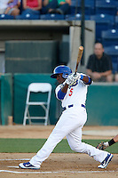O'Koyea Dickson #5 of the Rancho Cucamonga Quakes bats against the Stockton Ports at LoanMart Field on June 13, 2013 in Rancho Cucamonga, California. Stockton defeated Rancho Cucamonga, 8-4. (Larry Goren/Four Seam Images)