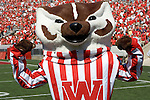 MADISON, WI - SEPTEMBER 3: Wisconsin Badgers mascot Bucky Badger celebrates a victory against the Bowling Green Falcons at Camp Randall Stadium on September 3, 2005 in Madison, Wisconsin. The Badgers beat the Falcons 56-42. Photo by David Stluka.