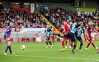 Sido Jombati of Wycombe Wanderers goes close as Goalkeeper Freddie Woodman of Crawley Town watches it go past during the Sky Bet League 2 match between Crawley Town and Wycombe Wanderers at Checkatrade.com Stadium, Crawley, England on 29 August 2015. Photo by Liam McAvoy.