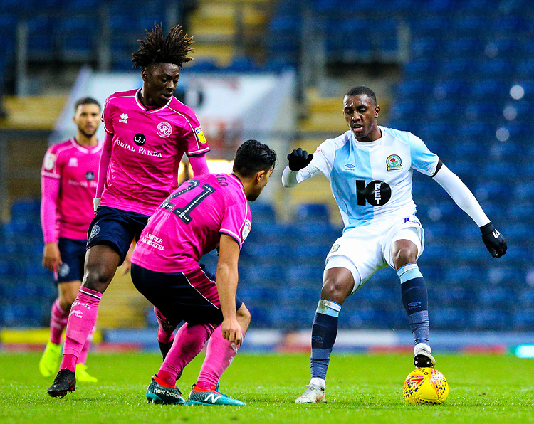 Blackburn Rovers' Amari'i Bell battles with Queens Park Rangers' Massimo Luongo and Eberechi Eze<br /> <br /> Photographer Alex Dodd/CameraSport<br /> <br /> The EFL Sky Bet Championship - Blackburn Rovers v Queens Park Rangers - Saturday 3rd November 2018 - Ewood Park - Blackburn<br /> <br /> World Copyright © 2018 CameraSport. All rights reserved. 43 Linden Ave. Countesthorpe. Leicester. England. LE8 5PG - Tel: +44 (0) 116 277 4147 - admin@camerasport.com - www.camerasport.com