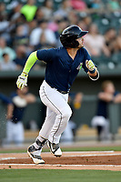 Third baseman Michael Paez (3) of the Columbia Fireflies runs toward first in a game against the West Virginia Power on Friday, May 19, 2017, at Spirit Communications Park in Columbia, South Carolina. West Virginia won, 3-1. (Tom Priddy/Four Seam Images)