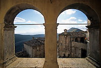 View through one of the porticoed balconies in the historic village of Santo Stefano di Sessanio in the Gran Sasso National Park