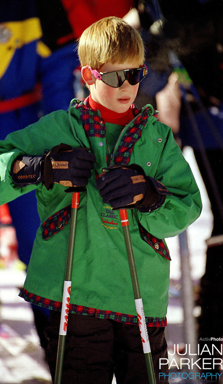 Prince Harry sking, in Lech, Austria while on holiday with his mother The Princess of Wales, and brother Prince William