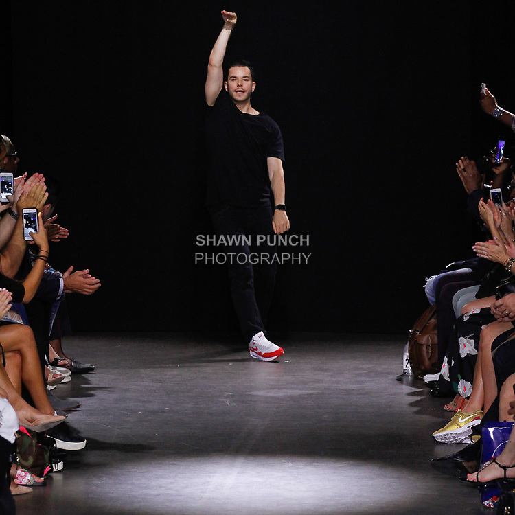 Fashion designer Jace Epstein thanks audience for attending his Grungy Gentleman Spring Summer 2018 collection fashion show in the Dream Downtown hotel on July 13, 2017; during New York Fashion Week: Men's Spring Summer 2018.