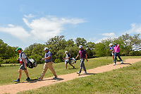 Jonathan Randolph (USA), Kyle Thompson (USA), and Julian Suri (USA) head down 2 during Round 1 of the Valero Texas Open, AT&amp;T Oaks Course, TPC San Antonio, San Antonio, Texas, USA. 4/19/2018.<br /> Picture: Golffile | Ken Murray<br /> <br /> <br /> All photo usage must carry mandatory copyright credit (&copy; Golffile | Ken Murray)