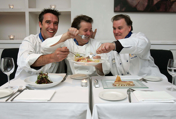 Food Fight......Kevin Dundon, Dunbrody House (left) with Ross Lewis, from Chapter One and Derry Clarke, L'Ecrivain (right) pictured here sampling food prepared by finalist's of  this year's Baileys Euro-Toques Young Chef of the Year which takes place in the Four Seasons Hotel, Dublin on Sunday the 2nd of December. Pic. Robbie Reynolds
