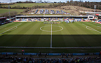 The teams line up during the Sky Bet League 2 match between Wycombe Wanderers and Mansfield Town at Adams Park, High Wycombe, England on 25 March 2016. Photo by Andy Rowland.