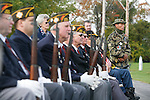 Veterans, including Jerry Hogan, B Troop, listen during the rededication ceremony of the 1st Squadron, 9th Cavalry monument at Motts Military Museum in Groveport, Ohio.