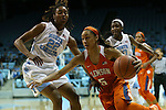 03 January 2016: Clemson's Danielle Edwards (5) and North Carolina's N'Dea Bryant (22). The University of North Carolina Tar Heels hosted the Clemson University Tigers at Carmichael Arena in Chapel Hill, North Carolina in a 2015-16 NCAA Division I Women's Basketball game. UNC won the game 72-56.
